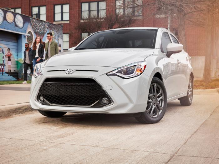 This photo provided by Toyota shows the 2020 Toyota Yaris, a small, fun-to-drive sedan or hatchback with Mazda underpinnings