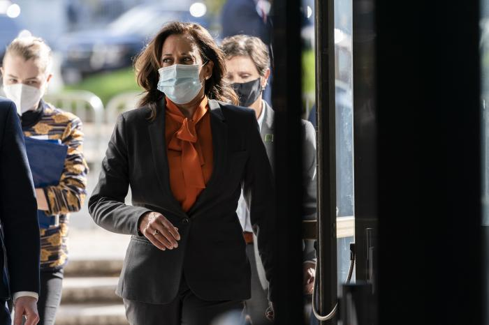 Democratic vice presidential candidate Sen. Kamala Harris, D-Calif., arrives on Capitol Hill for the confirmation hearing of Supreme Court nominee Amy Coney Barrett before the Senate Judiciary Committee.