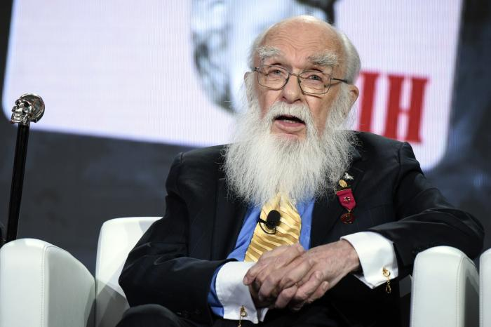 """Magician James Randi participates in the """"An Honest Liar"""" panel at the PBS Winter TCA in Pasadena, Calif."""