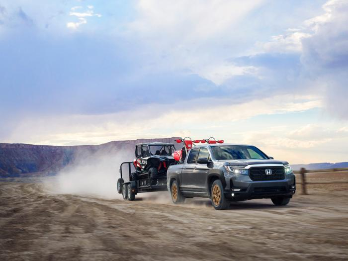 This photo provided by Honda shows the 2021 Honda Ridgeline, an example of a midsize pickup truck with respectable towing and hauling capability