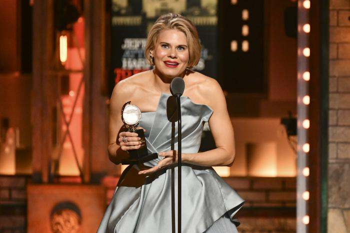 """Celia Keenan-Bolger accepts the award for best performance by an actress in a featured role in a play for """"To Kill a Mockingbird"""" at the 73rd annual Tony Awards at Radio City Music Hall, in New York."""