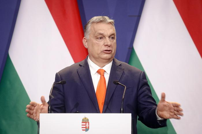 Hungarian prime minister Viktor Orban, speaks during a joint press conference in Budapest, Hungary.