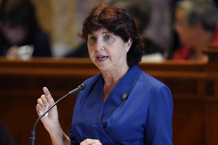 Sen. Beth Mizell, R-Franklinton, speaks in the Senate Chambers during a veto session in Baton Rouge, La.
